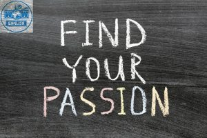 find your passion phrase handwritten on the school blackboard