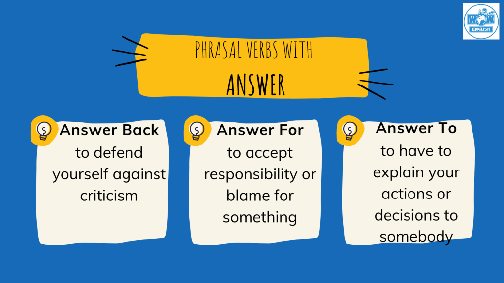 Answer đi với giới từ gì: Answer back, Answer for, Answer to - Phrasal verbs with Answer
